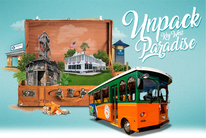 Luggage with Key West attractions inside and an Old Time Trolley next to it