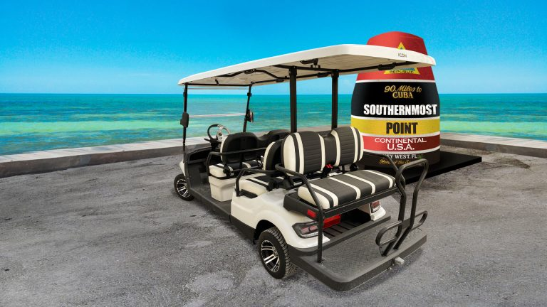 Fury White Golf Cart Rental at the southernmost point