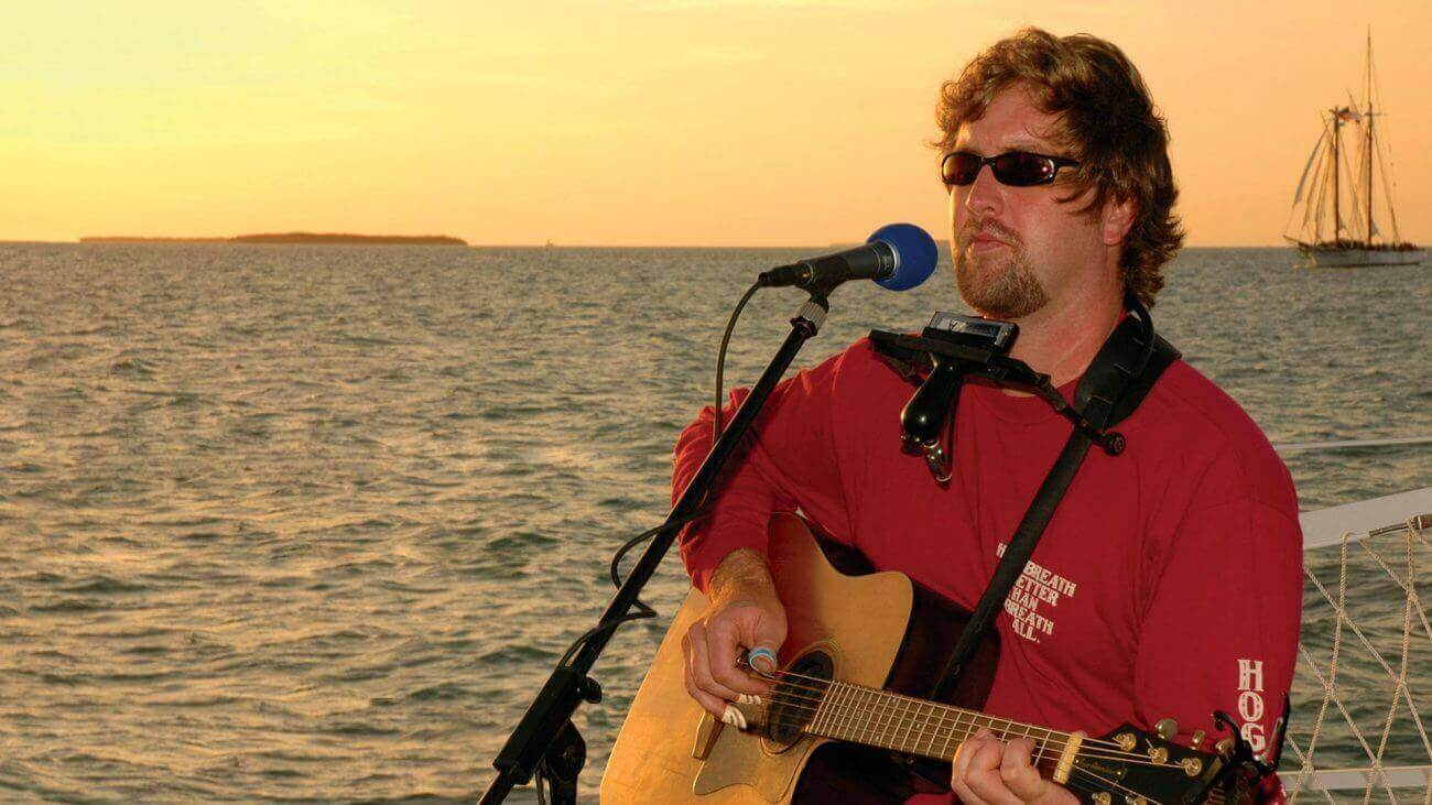 Image of Cory Heydon playing on the Fury Live Music Sunset Sail