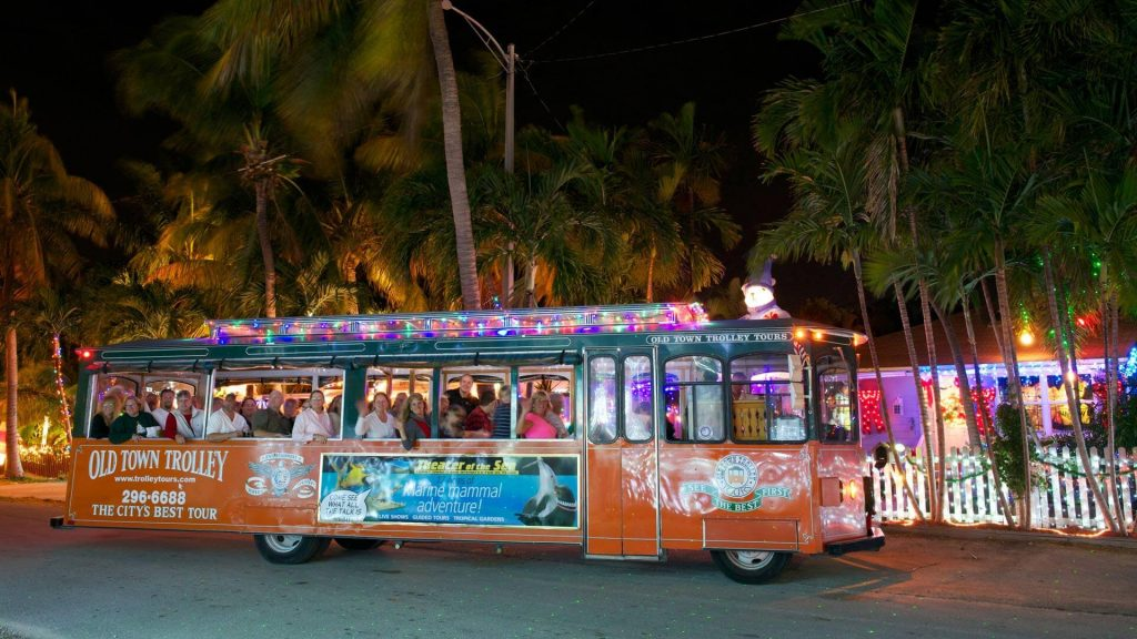 Old Town Trolley with holiday lights in Key West