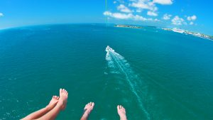 Aerial view of Key West while parasailing