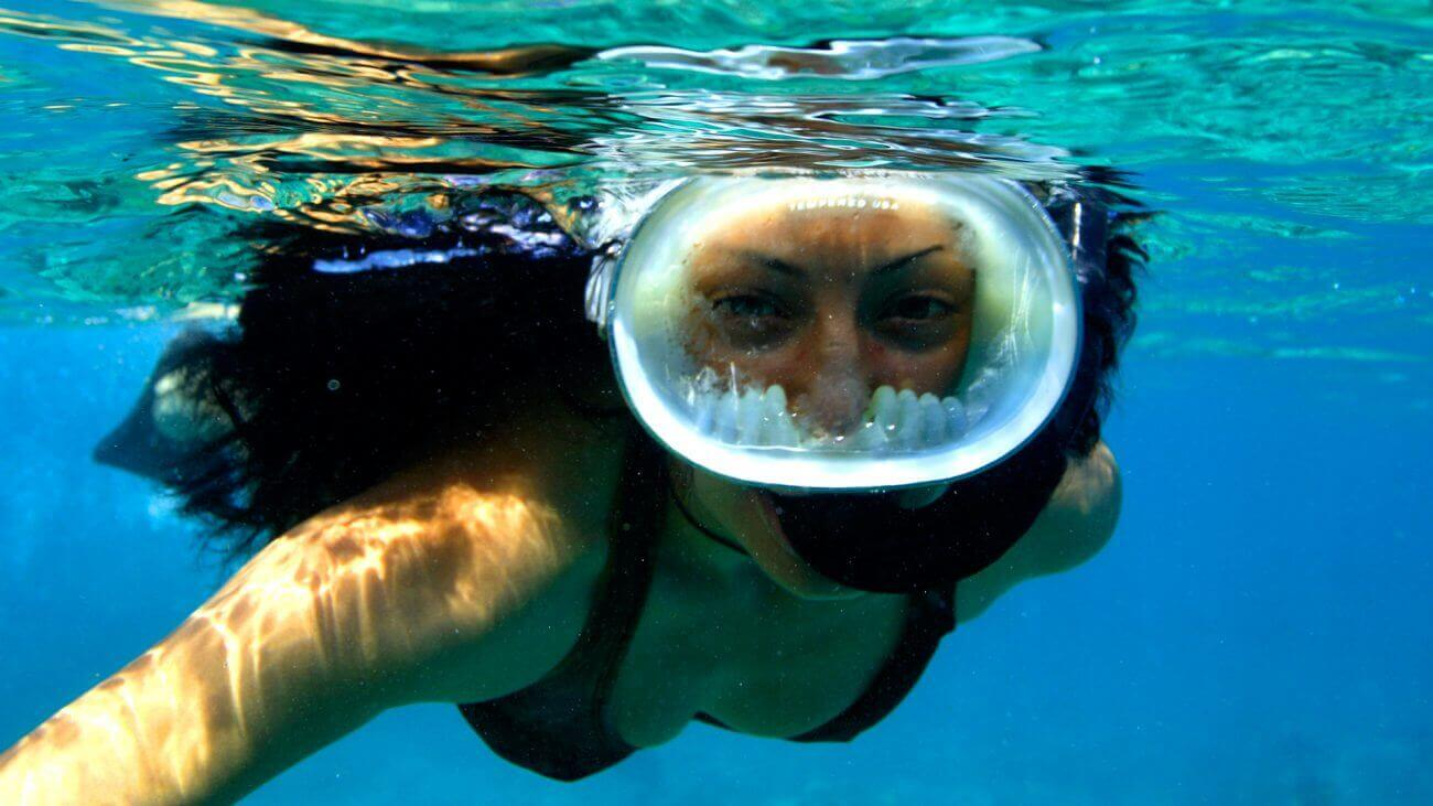 Image of woman snorkeling the Key West waters