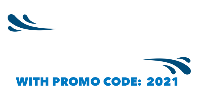 Graphics that includes water drops and the words 'Get 2021 off to a Flying Start with promo code: 2021