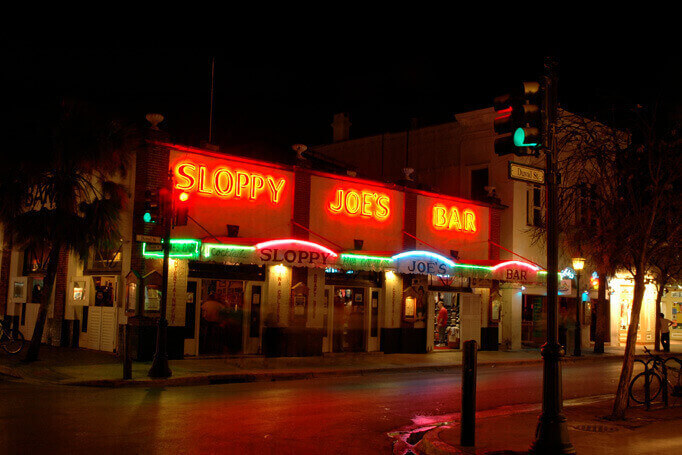 Sloppy Joe's Bar at night in Key West