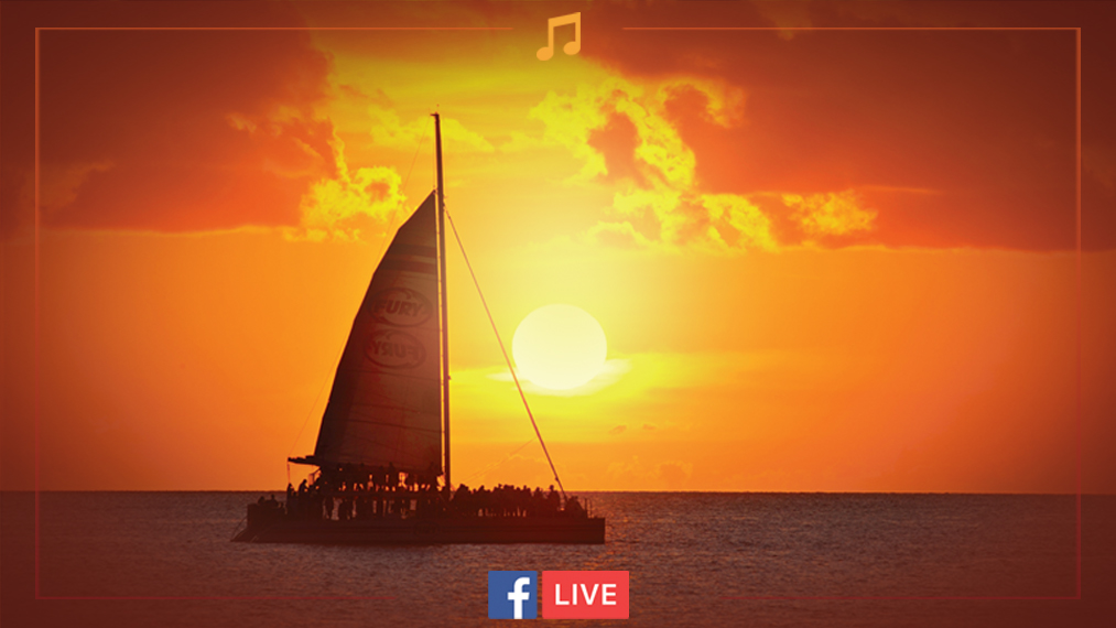Fury sail boat with beautiful sunset in background