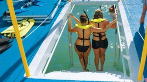 Image of girls getting ready to snorkel in Key West