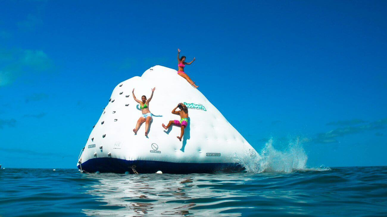 Image of people on waterslide in Key West