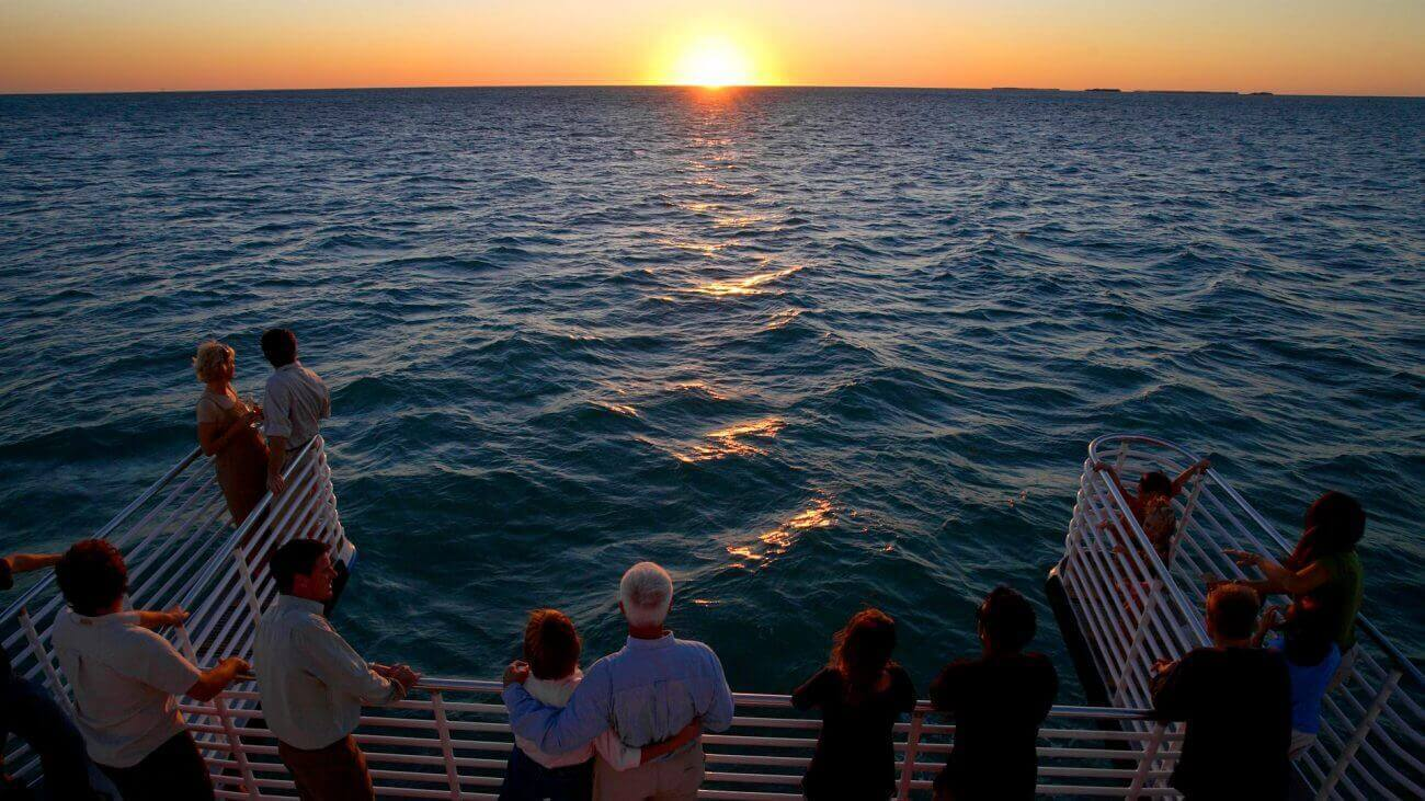People watching the beautiful Key West sunset