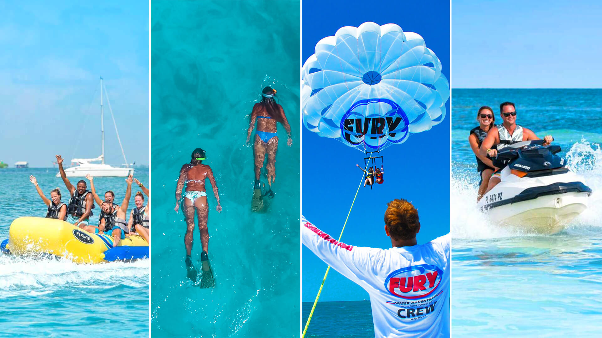 4 different key west water sport activities with Fury
