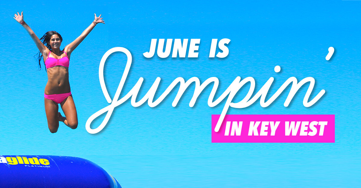 """Woman jumping on a water trampoline - """"June is jumping"""""""