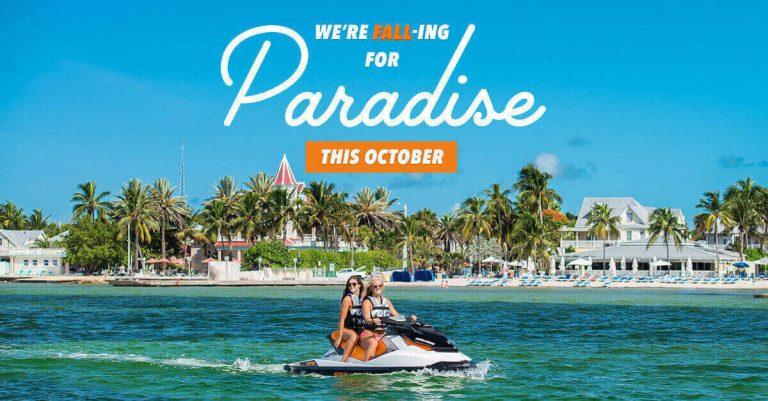 We're fall-ing for paradise this October Women jetskiing through Key West