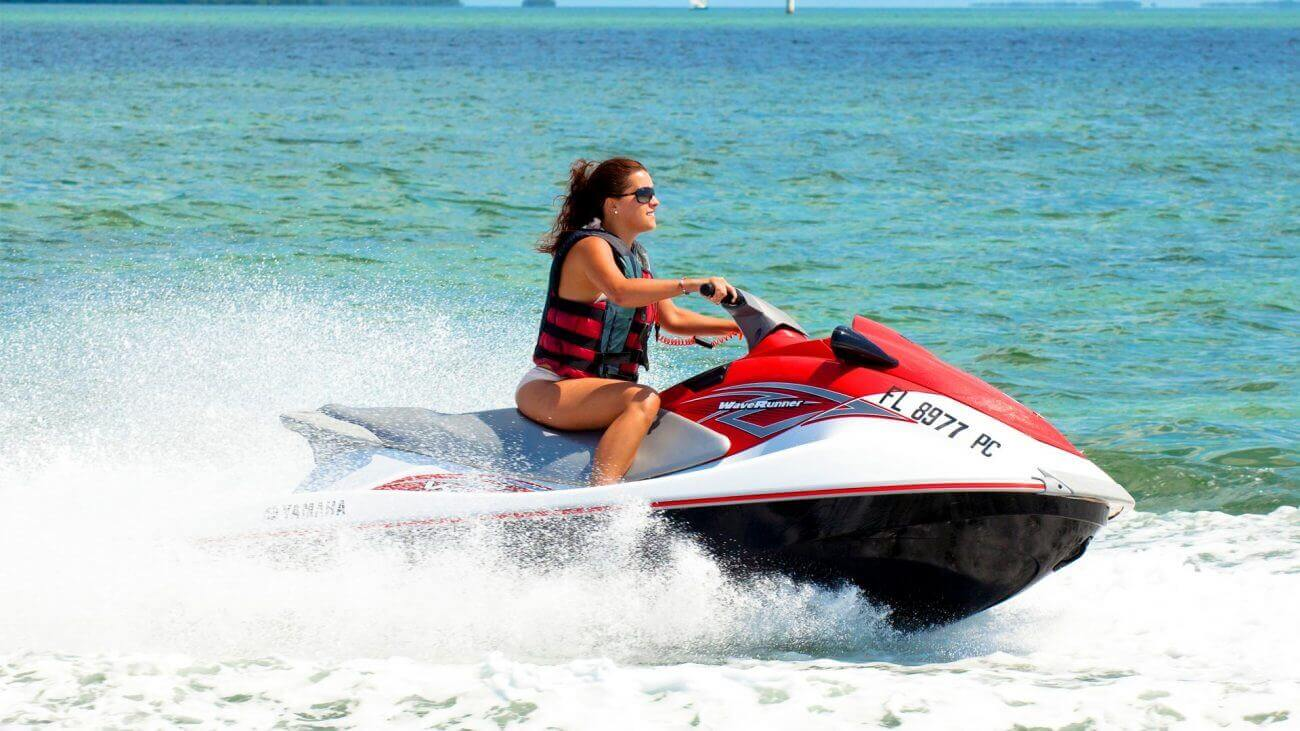 Image of woman on a jet ski in Key West